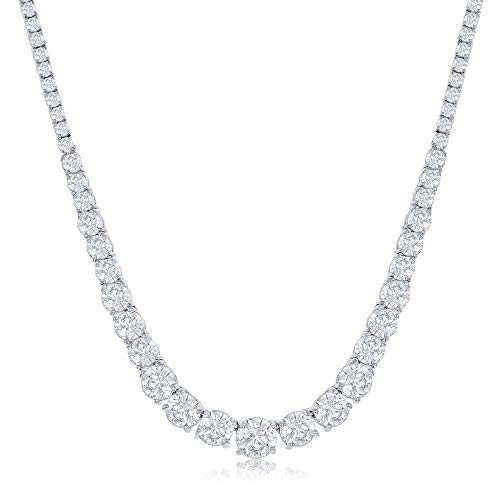 NYC Sterling Womens Necklace Round Cubic Graduated Zirconia Tennis Necklace