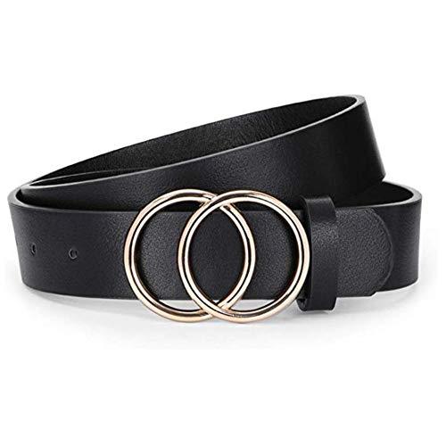 REYOK 1 Pezzi Moda Donne Cintura in Pelle, Doppio Anello Fibbia Oro per Jeans Vestiti Pantaloni Donne Le Signore Cinture Sottili Vestito
