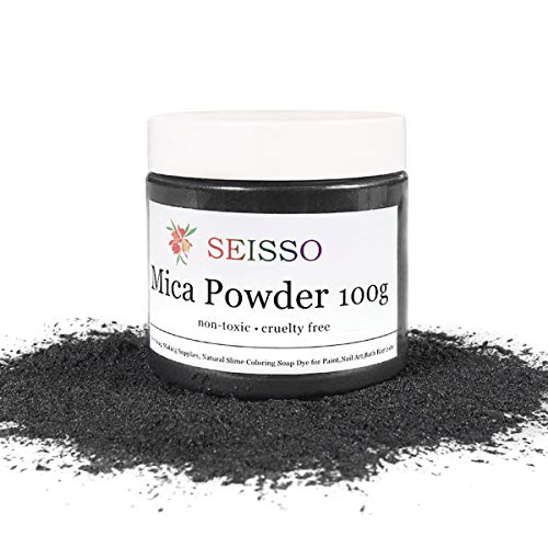 SEISSO Mica Powder Silver Black - 100 Gram/ 3.5 Ounce Fine Shimmer Pigment, Natural Non- Toxic Colorant Dye for Craft Soap Making Bath Bomb Epoxy Resin Paint Acrylics Rubber Clay Kid Slime Nail Polish