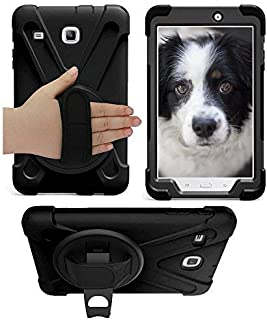 Galaxy Tab E 8.0 T377 Case, KIQ Cover Shockproof Protective Shield Case Cover Palm Handstrap for Samsung Galaxy Tab E 8.0 SM-T377 [2016] SM-T377 (Shield Black)