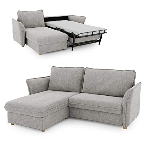 place to be. Schlafsofa 85 cm breit mit Bettkasten 2 Sitzer Sofa mit Schlaffunktion ausklappbar Gästebett mit Recamiere Links grau P9502 mit Fleckschutz Eiche massiv