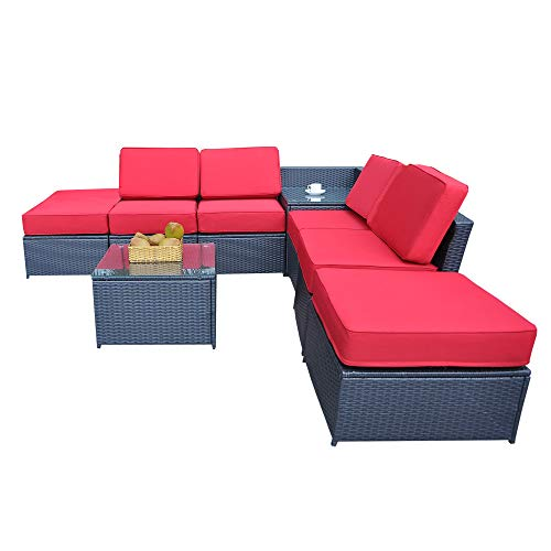 MCombo Outdoor Patio Black Wicker Furniture Sectional Set All-Weather Resin Rattan Chair Conversation Sofas with Water Resistant Cushion Covers 6085-1008A6 (Red)