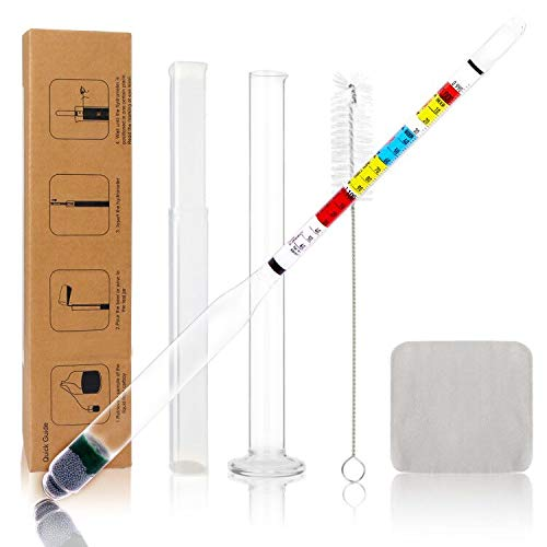 Circrane Hydrometer & Glass Test Jar Set, Triple Scale Alcohol Hydrometer with Glass Cylinder for Brew Beer, Wine, Mead and Kombucha, ABV, Brix and Gravity Test Kit, Home Brewing Supplies