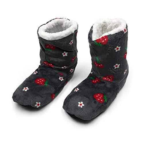 HIUGHJ Calzado de casa de Felpa para Mujer Calcetín de Piso de Fresa con Relleno Calentador de pie de Invierno Zapatillas de Fondo Suave Calzado, Gris