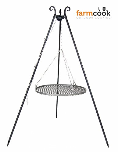 Dreibeingrill VIKING Höhe 180cm incl. Kette und Rost aus Rohstahl Durchmesser 60cm