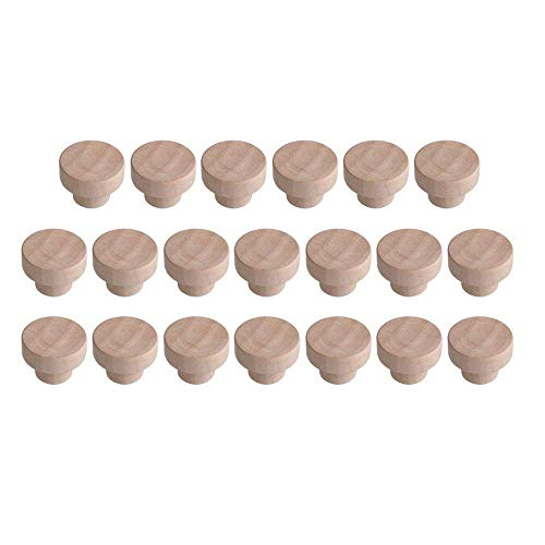 Bocotoer Pomelli rotondi in legno per armadi e cassetti, 40 mm x 25 mm, 20 pezzi