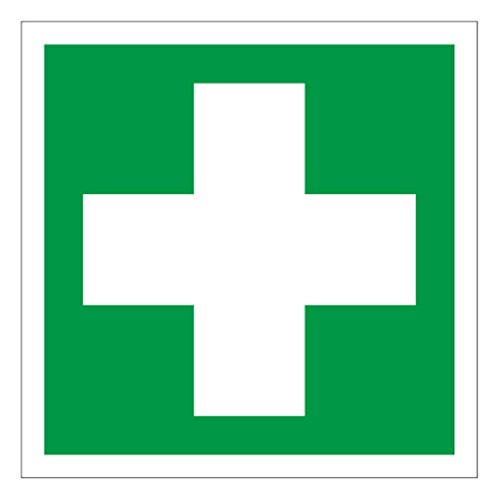 Anro Warnschild für Erste Hilfe E003 | Nachleuchtendes PVC Sicherheitsschild Medizinische Versorgung | Selbstklebend Hinweis-Schild für Kliniken, Betriebe & Apotheken | Farbe: Grün