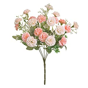 1 Bouquet Artificial Flowers Carnation Clove Silk Fake Flower With Leaves Flores For DIY Home Garden Wedding Decoration