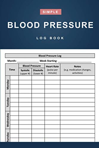 Blood Pressure Log Book: Simple Daily Blood Pressure Log for Record and Monitor Blood Pressure at Home - 110 Pages (6' x 9' Inches)