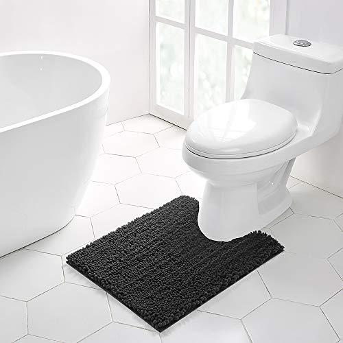 Tapete de banheiro antiderrapante Walensee em forma de U (50 x 60 cm) Cinza escuro), absorvente de água, super macio, chenille, lavável à máquina, seco, extra grosso, perfeito absorvente, melhor tapete de pelúcia