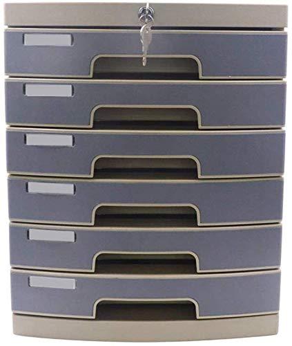 FEE-ZC 6 lade Bestand Kasten Verticaal, Desktop Data Storage Box Sleutelslot Kantoor Kast Kunststof 29.8 * 38.2 * 36,6 cm Home Office Meubels Met Lock