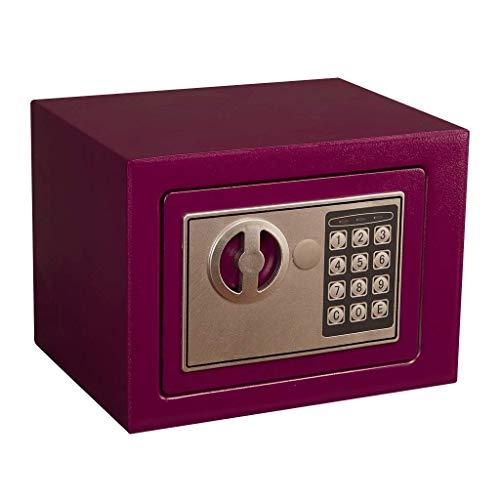 NOSSON Home Home Office Sicherheitssafe mit Tastensperre Digitale Tastatur Stahl Eingebaute Alarmwandinstallation Lila Kleine Sicherheitsbox23 * 17 * 17 cm für Zuhause