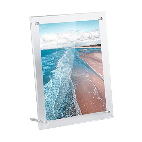 WeColor 高い透明度アクリルフォトフレーム 写真立て A5判額縁、横縦置き兼用、スタンドタイプ 写真フレーム、両面透明卓上展示ピクチャー、ポスター (A5)