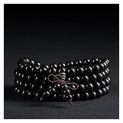 WanXingY 2021 Naturel Black Sandalwood 6mm Collier Collier Bouddha Noir Sanal de Sandal Méditation Prière Lisse Perles Rondes (Length : 51in Elastic Rope)