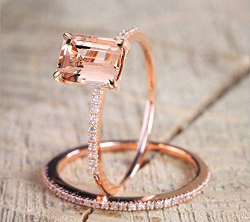 2Pcs Yellow Shinning Cubic Zirconia Topaz Rings for Women Rose Gold Plated Anniversary Cocktail Arrow Wedding Bands Collection Jewelry Rings Set Size 6-10 (7#)