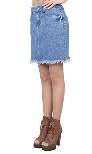 ililily Vintage Distressed Washed Cotton Denim Slim Fit Pencil Mini Skirt, Middle Blue Denim, US-XL