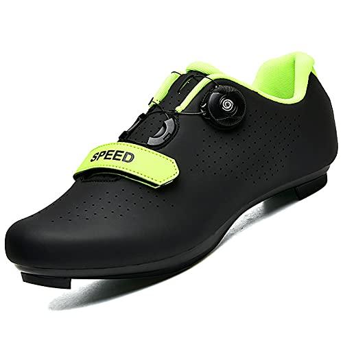 Calzado de Ciclismo para Hombre, Mujer, Ciclismo de Carretera, Calzado para Montar, Hebilla giratoria, Taco Transpirable Black42