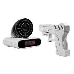IDS New Gun Shoot to Stop Game Alarm Clock LCD Screen Novelty Clock - White
