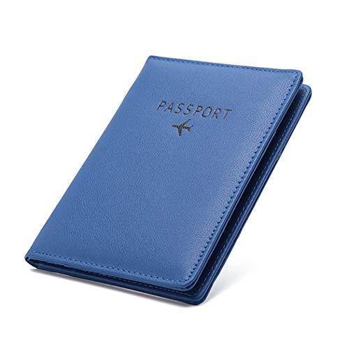 パスポートケース ホルダー トラベルウォレット スキミング防止 安全な海外旅行用 PUレザーパスポートカバー クレジットカード 名刺 エアチケット 航空券 多機能収納ポケット 旅行用品 (ブルー)