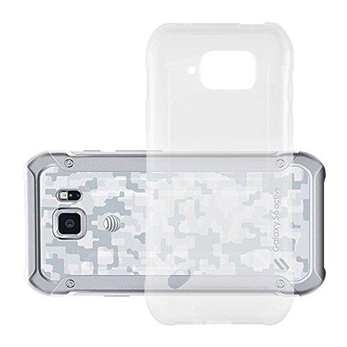 Cadorabo Hülle kompatibel mit Samsung Galaxy S6 Active Hülle in VOLL TRANSPARENT Handyhülle aus TPU Silikon im Ultra Slim 'AIR' Silikon Schutzhülle