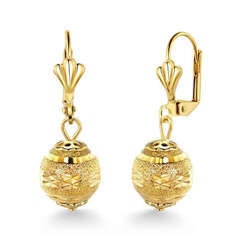 Gem Stone King Stunning 1-1/4 Inch Dangle Spheres Gold Plated Brass Lever-Back Women's Earrings