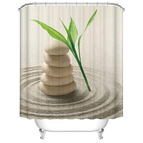 Fangkun Spa Decor Bambus-Duschvorhang-Set – Zen Stone Garden Rocks Spa Bamboo Beach Art Badvorhänge – Polyestergewebe wasserdichte Gardinen – 12 Stück Haken – 183 x 183 cm