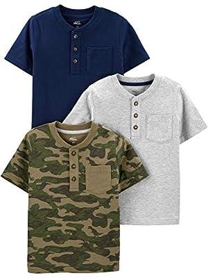 Simple Joys by Carter's Boys' Toddler 3-Pack Short-Sleeve Pocket Henley Tee Shirt, Navy/Heather Grey/Camo, 2T by Simple Joys by Carter's