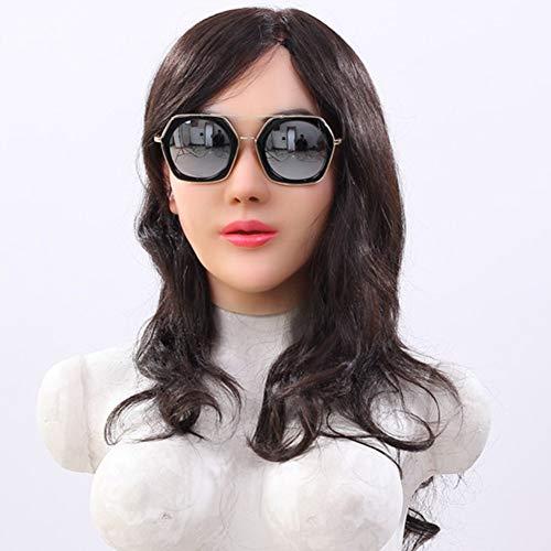 NADAENMJ Silikon-Maske Crossdresser dauerhaft geschminkt realistisch Gesichtsmaske Transgender Transvestiten Drag Queen Karneval Cosplay Oktoberfest Maskerade Frauenmaske