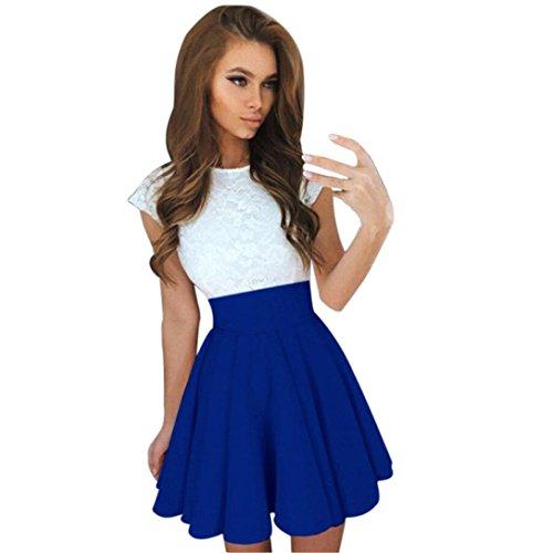 Xinan Damen Spitze Cocktail Minikleid Kurzschluss Hülsen Kleider (XL, Blau)