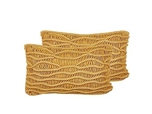 Beliani Conjunto de 2 Cojines Decorativos Amarillos 30x50 cm KIRIS