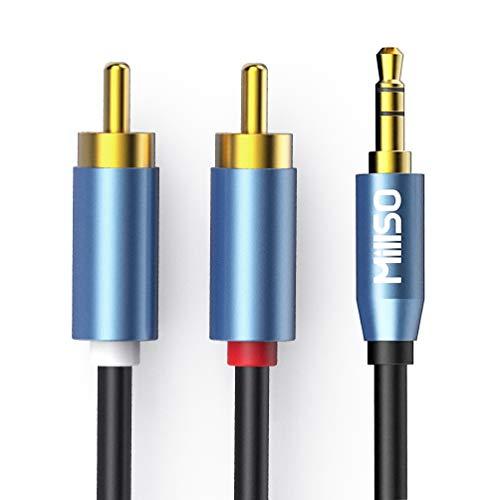 MillSO RCA a 3,5mm Cavo Jack Audio stereo Jack a 2 RCA maschio Y Cavo (connettore metallico placcato oro, doppia schermatura) per Home Theater, Amplificatore, HDTV, Altoparlanti Stereo, Subwoofer -2M