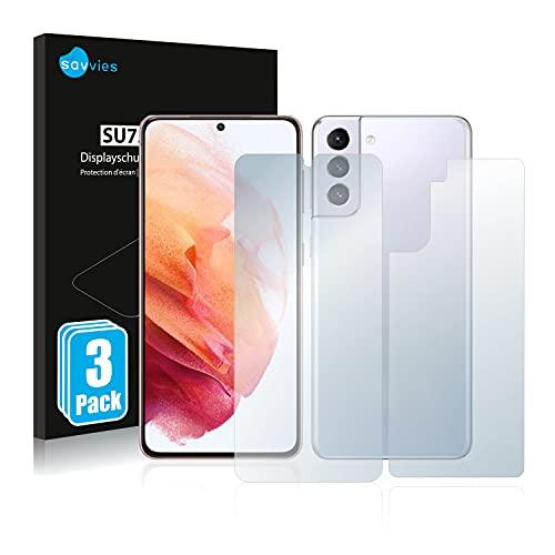 Savvies 6X Schutzfolie kompatibel mit Samsung Galaxy S21 5G (Vorder + Rückseite) Bildschirmschutz-Folie Ultra-transparent