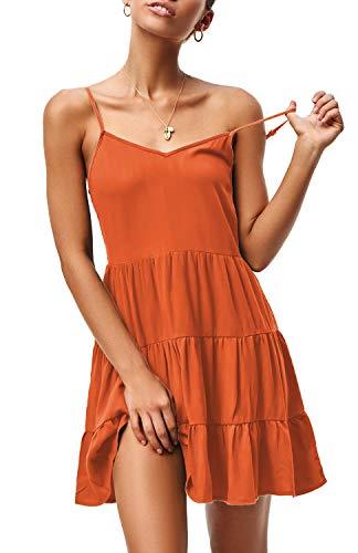 ZJCT Womens Summer Dresses V Neck Sleeveless Spaghetti Strap Sundress Pleated Loose Swing Casual T Shirt Dress with…