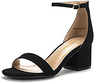 DREAM PAIRS Women's Low-Chunk Low Heel Pump Sandals with Ankle Strap