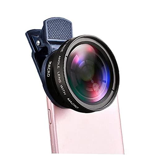 2En 1 kit de lentes telefónicos Macro de lente de lente de gran angular con 37 mm Teléfono Adaptador Clip Negro