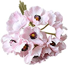 Calcifer 10 pcs Real Touch PU Mini Artificial Poppies Flowers Bridal Holding Flowers Bouquet Home Garden Wedding Party Decoration (Pink)