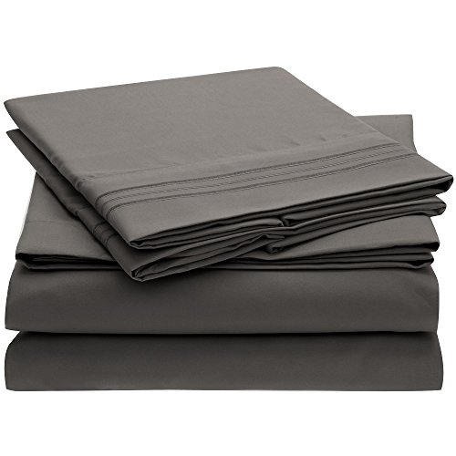 Ideal Linens Bed Sheet Set - 1800 Double Brushed Microfiber Bedding - 4 Piece (Full, Gray)