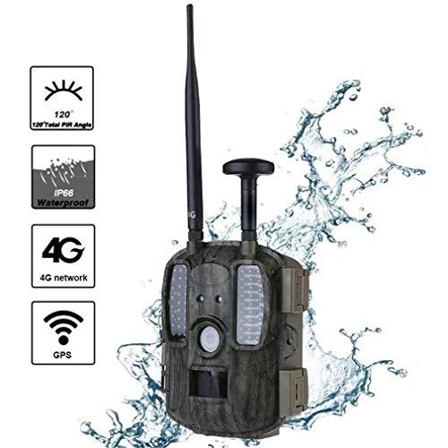 Rsiosle Faune 4G Caméra piège, Chasse GPS Outdoor caméras, 12MP 1080P IP66 Surveillance à Distance étanche de Vision Nocturne Infrarouge détection de Mouvement Support MMS GPRS Email GSM
