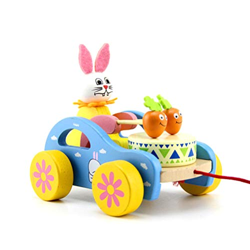 Stylelove Holzspielzeug zum Mitziehen Hase/Frosch Schlagzeug Holzspielzeug zum Mitziehen für kleine Jungen