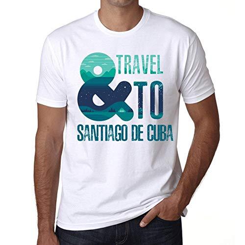 Hombre Camiseta Vintage T-Shirt Gráfico and Travel To Santiago DE Cuba Blanco