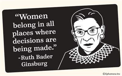 Ephemera-Inc Woman Belong in All Places Where Decisions are Being Made. -Ruth Bader Ginsburg - Bumper Sticker