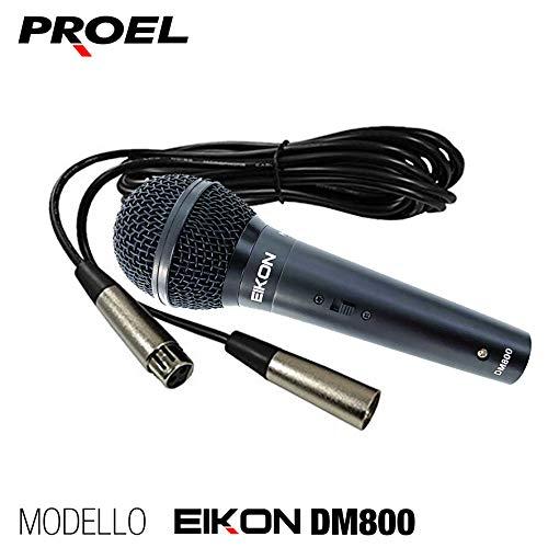 Proel EIKON DM800 - Microfono Dinamico per Voce, Canto, Karaoke + Cavo Cannon XLR 5mt.