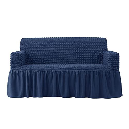Cubierta de sofá Sofá de Color Puro Cubierta de sofá de 1 Pieza Universal High Stretch Durable Sofá Cubierta Ficha Lavable Ficha Protector con Falda-Azul_4 plazas 235-300cm