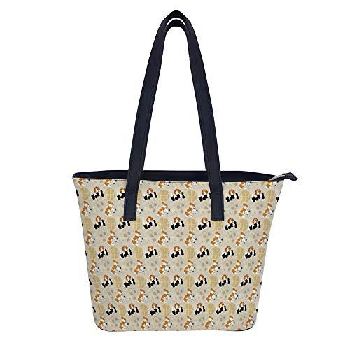 Pequeños Spaniels y bolsos de baloncesto de fútbol y bolsos de mano para mujeres de moda señoras de cuero sintético asa superior Satchel Bolso de hombro