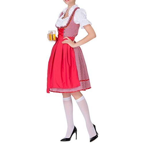 Women's Bavarian Beer Maid Costume Plaid Dirndl Dress Tradtional German Oktoberfest Wench Fancy Dress (M, 2#Red)
