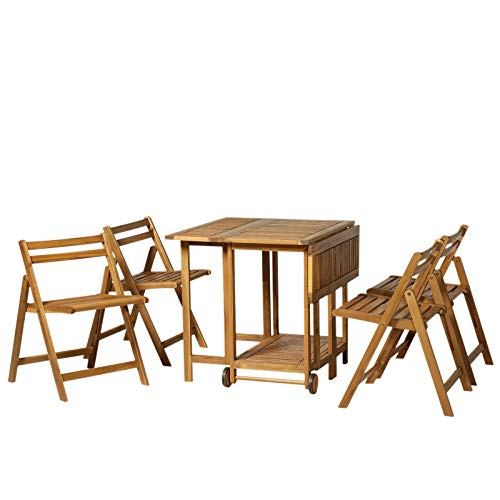 Outsunny Set da Pranzo Tavolo Estensibile con Ruote 4 Sedie Pieghevoli Legno di Acacia 100.5 x 82 x 75 cm Marrone