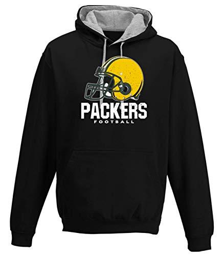 Shirt Happenz Packers Football Green Bay Pack Football Premium Varsity Hoodie Pulli Kontrasthoodie Kapuzenpullover, Größe:M, Farbe:Schwarz Graumeliert JH003