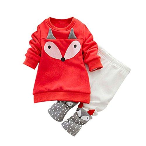 Hirolan Kleinkind Sweatshirt Outfits Baby Junge Mädchen Fuchs Drucken Lange Ärmel Plus Kaschmir Lange Hülse Top + Hosen Set Kleider (Orange, 80cm)