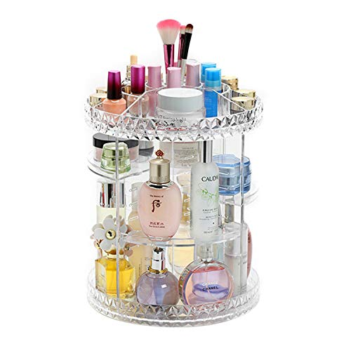 Tebery Clear Makeup Organizer 360-Degree Rotating, 7 Adjustable Layers Acrylic Cosmetic Storage Display Case Fits Creams, Makeup Brushes, Lipsticks, Jewelry