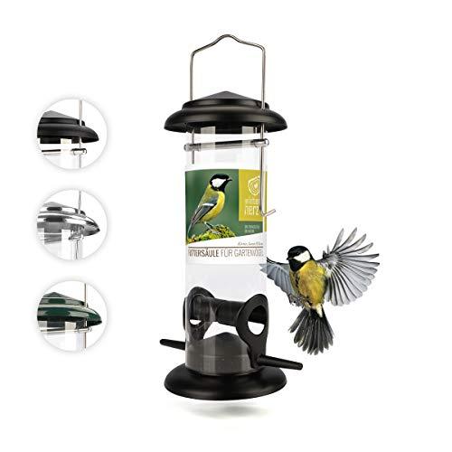 corazón animal salvaje I Comedero para pájaros de 23,5 cm, de metal inoxidable, comedero para pájaros, comedero para pájaros, silo, negro